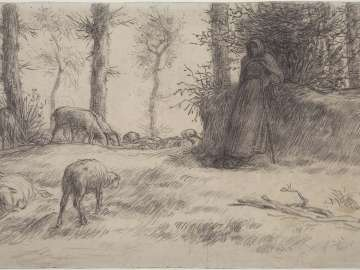 Landscape with Sheperdess and Sheep, Winter
