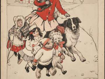 Girl, Toys and Dogs Walking, illustration for The Christmas Letter