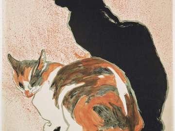 Two Cats (A La Bodiniére, 18 Rue St. Lazare, Exposition de L'Oeuvre Dessiné et Peint de T. A. Steinlen)