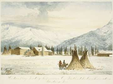 Hudson Bay Trading Post on Flathead Indian Reservation, Montana Territory