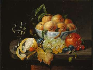 Still Life: Bowl with Fruit and Wine Glass