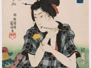 Writing a Label for Chrysanthemums, from the series Women in Benkei-checked Fabrics (Shimazoroi onna Benkei)