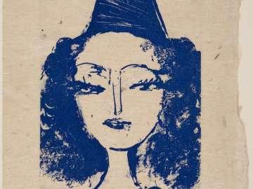 Head of a girl, wearing peaked cap