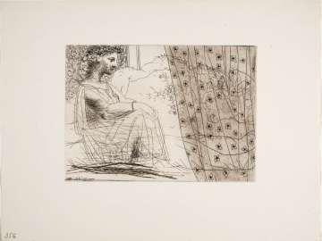 Woman Contemplating a Sleeping Minotaur