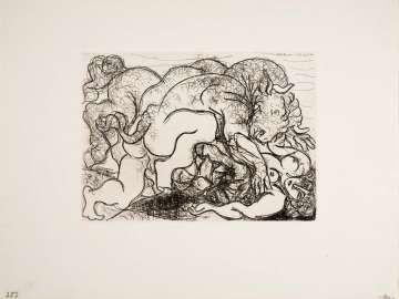 Minotaur Attacking an Amazon