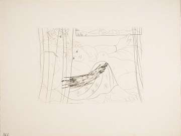 Minotaur and Woman Behind a Curtain