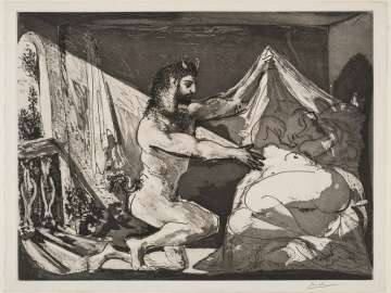 Faun Unveiling a Sleeping Woman (Jupiter and Antiope, after Rembrandt)