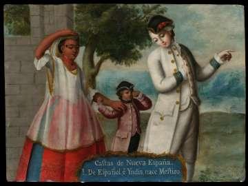 Castas de Nueva España (Castes of New Spain) / 1. De Español e Yndia, nace Mestizo (From Spaniard and Indian, a Mestizo is born)