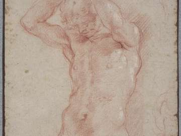 Standing Male Nude with Raised Arms (Study for a Caryatid)