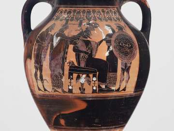 Two-handled jar (amphora) depicting the birth of Athena
