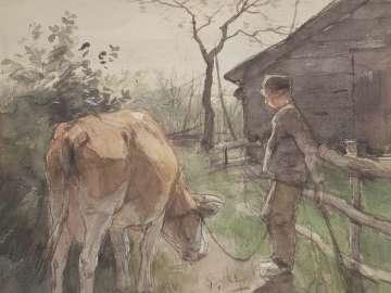 Boy Tending Cow