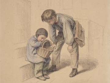 Two Boys Checking the Contents of a Basket