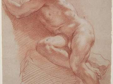 Reclining Male Nude; verso: Male Nude with Raised Arm