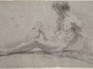 Reclining Male Nude with Subsidiary Study of a Face; verso: Two Studies of a Male Nude with Raised Arms