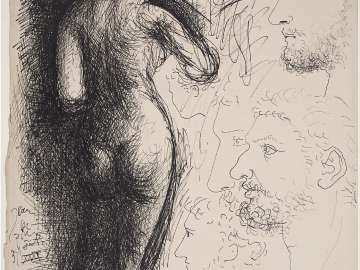Sketch Page with Nude and Classical Heads