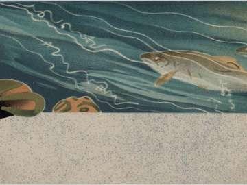 Trout in Stream and Poem by Koyo from the series Postcards of Haikai Poetry (Haikai ehagaki)