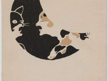 Snarling Cats in Crescent Moon (from an unidentified series)