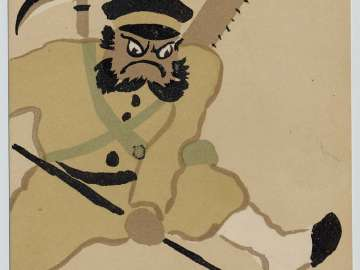 Soldier in a Parody of Benkei from the series Up-to-date Otsu-e