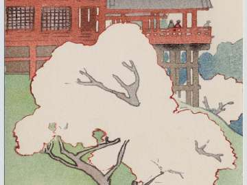 Cherry Blossoms at the Kiyomizu-do in Ueno from the series of Six Views of Tokyo in the Curved-line Aesthetic (Kyokusen-bi Toto rokkei)