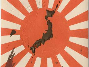 Map of the World Centered on Japan with Eagle and National Flag