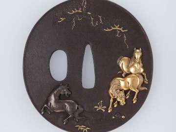 Tsuba with design of horses, stream and pine