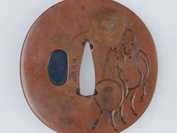 Tsuba with design of horses