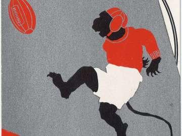New Year's Card: The Monkey's Rugby (Osaru no ragubii), from the series Monkey Sports for New Year's (Oshôgatsu saru no supôtsu)
