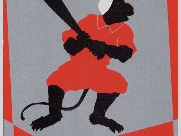 New Year's Card: The Monkey's Baseball (Osaru no yakyû), from the series Monkey Sports for New Year's (Oshôgatsu saru no supôtsu)