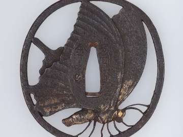 Tsuba with design of Taira butterfly