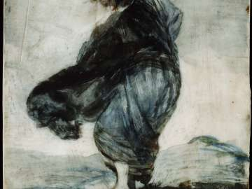 Woman with Clothes Blowing in the Wind