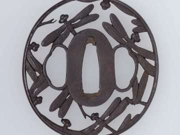 Tsuba with design of dragonflies