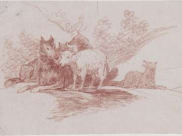 Lamb Among Wolves (drawing for unexecuted inage for the Disasters of War  (caprichos enfáticos)