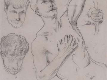 Sheet of Studies with a Nude Man