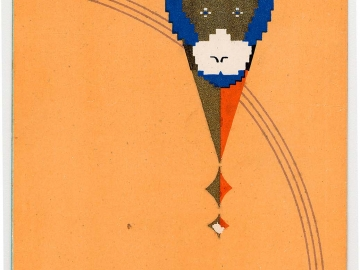 New Year's Card: Monkey on an Orange Background