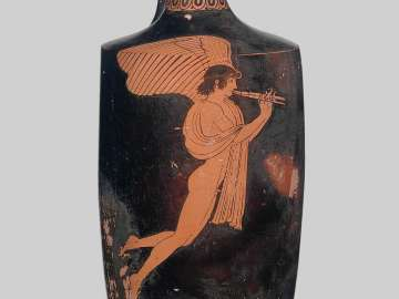 Oil flask (lekythos) with Eros playing double flute