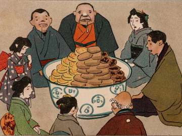 People Gathered, Expecting Food (Tanin no kuiyori) from Ehagaki sekai