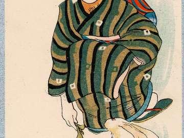 Woman in Kimono Feeding a White Rabbit (from an unidentified series)