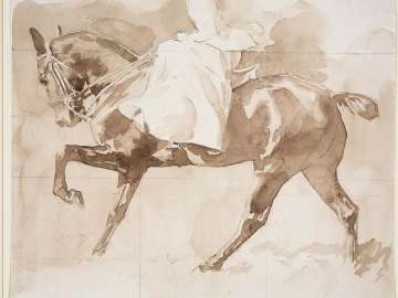 Sketch of a Lady on Horseback, Sidesaddle