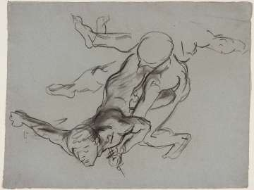 Sketch for Gog and Magog - Two Figures Falling - Public Boston Library Murals