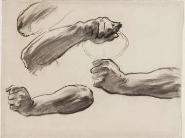 Sketch for the Judgement - Hands of Angel Holding Scale - Boston Public Library Murals