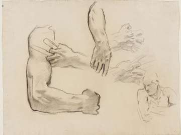 Sketch for the Synagogue - Arm and Hand Details - Boston Public Libray Murals