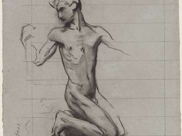 Sketch for the Crucifixion - Adam - Boston Public Library Murals