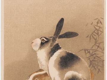 New Year's Card: Two Rabbits (from an unidentified series)