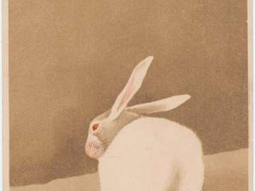 New Year's Card: White Rabbit on the Ground (from an unidentified series)