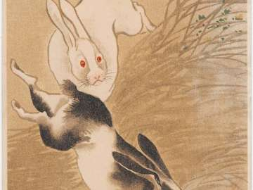 New Year's Card: Two Rabbits in the Bush (from an unidentified series)