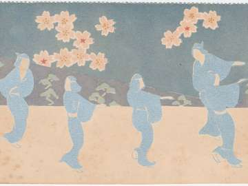 Kabuki Dancers under the Cherry Blossoms