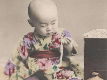Baby Playing with Soba Noodles