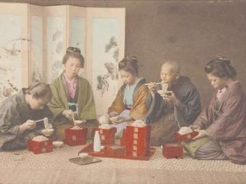 Family Eating Soba Noodles