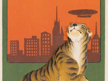New Year's Card: Tiger Looking Up the Sky