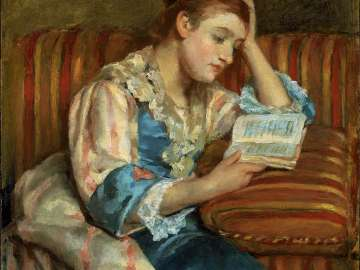 Mrs. Duffee Seated on a Striped Sofa, Reading